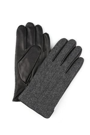 Profuomo Heren donkergrijs gebreide leren handschoenen