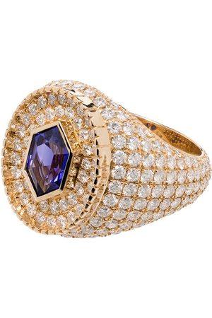O THONGTHAI 14kt yellow Fancy Cut tanzanite/diamond ring