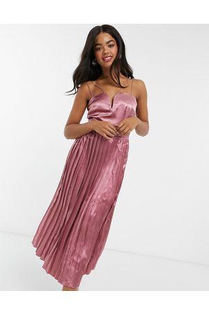 Little Mistress Pleated skirt satin midi dress in cosmetic pink
