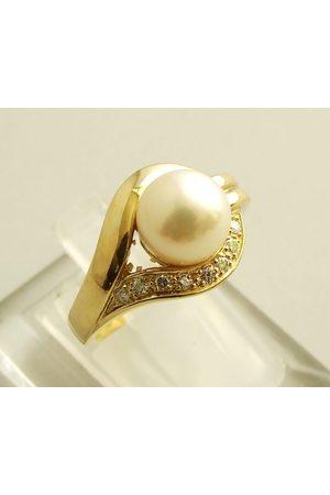 Christian 18 karaat gouden ring met parel en diamant