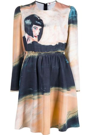 PORTS 1961 Graphic print long-sleeve dress