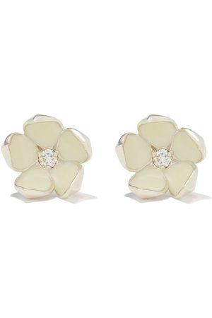 SHAUN LEANE Silver Cherry Blossom diamond large flower stud earrings