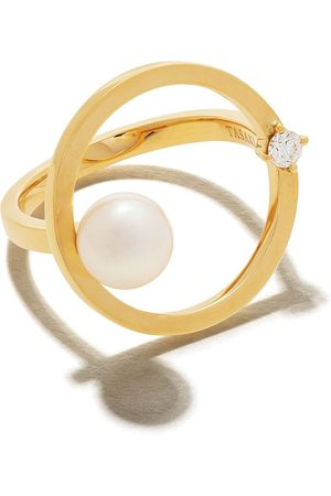 Tasaki 18kt yellow Kinetic Akoya pearl and diamond ring