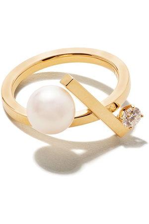 Tasaki 18kt yellow Balance cross Akoya pearl and diamond ring