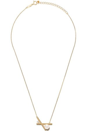 Tasaki 18kt yellow Balance cross Akoya pearl and diamond pendant necklace
