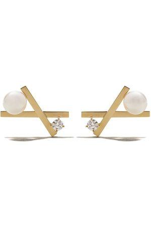 Tasaki 18kt yellow Balance cross Akoya pearl and diamond stud earrings