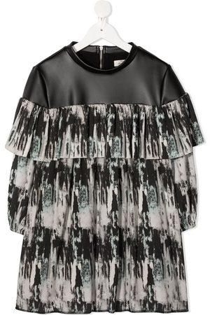 Le pandorine Aurora-print ruffled dress