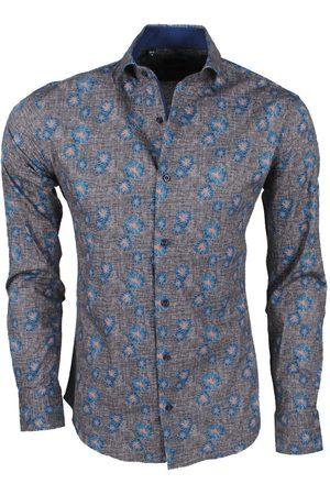 New Republic Dinero milano heren overhemd slim fit bloemen bruin