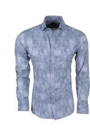 New Republic Dinero milano heren overhemd slim fit rondjes groen