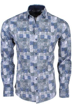 New Republic Dinero milano heren overhemd slim fit geblokt grijs/