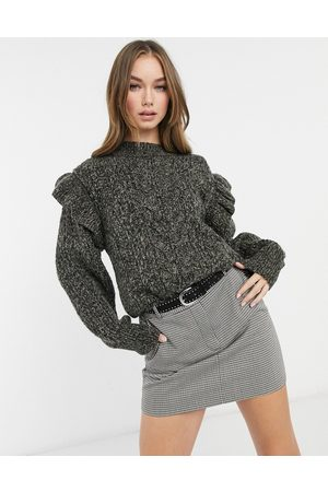 Topshop Frill sleeve cable knit jumper in charcoal-Grey