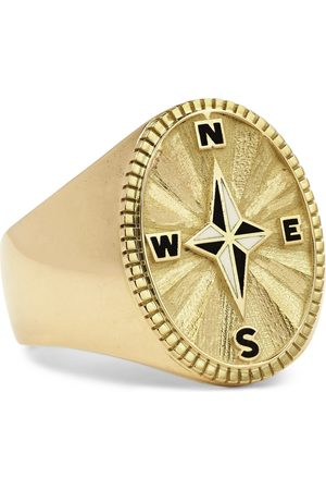 Foundrae Heren Ringen - Course Correction 18-Karat and Enamel Signet Ring
