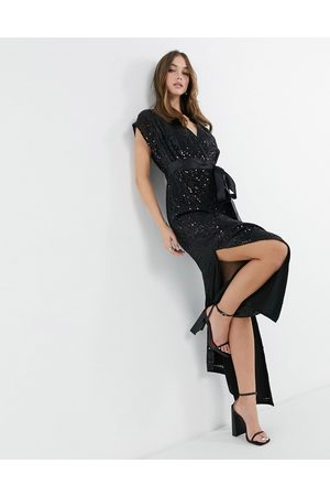 French Connection Embelished short sleeve maxi dress in black