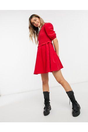 ASOS Cord shirred bodice smock mini dress in red