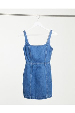 ASOS Denim square neck pinny dress in blue