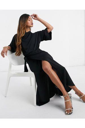 ASOS Cowl neck midi dress with wrap skirt in black