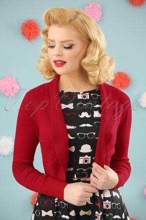 Collectif Dames Bolero's - 50s Jean Knitted Bolero in Red