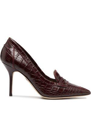 Dsquared2 Croc-effect high-heel loafer pumps
