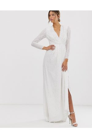 ASOS EDITION Alexa pleated plunge wrap wedding dress in sequin-White