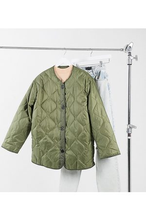 ASOS ASOS DESIGN Tall quilted jacket with fleece lining in khaki-Green