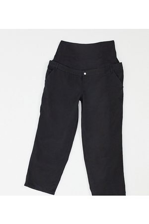 ASOS ASOS DESIGN Maternity slouchy chino trouser in black with over the bump band