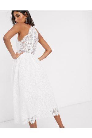 ASOS Valerie lace halter neck midi wedding dress-White