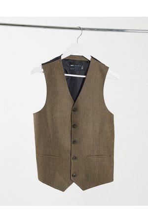 ASOS Gilets - Wedding skinny wool mix suit waistcoat in camel herringbone
