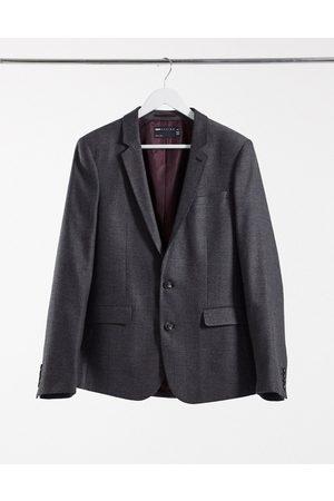 ASOS Wedding skinny wool mix suit jacket in charcoal herringbone-Grey