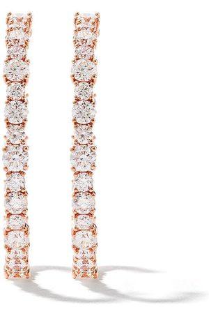 AS29 18k pink round diamond small hoop earrings