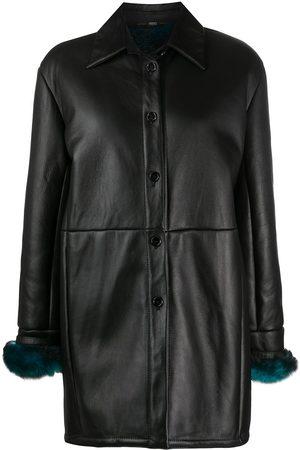 Gianfranco Ferré 1990s fur-trimmed cuffs leather coat