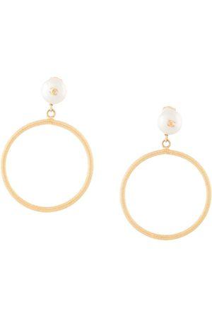 CHANEL 1996 CC pearl hoop earrings