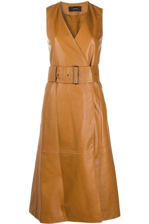 Joseph Leather belted wrap dress