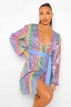 Boohoo Tall Rainbow Striped Sequin Wrap Belted Mini Dress