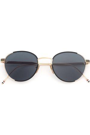 Thom Browne Black Enamel & 12k Gold Sunglasses