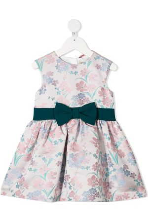 HUCKLEBONES LONDON Meisjes Feestjurken - Floral-print bow-belt party dress