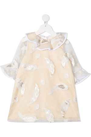 HUCKLEBONES LONDON Feather-print shift dress