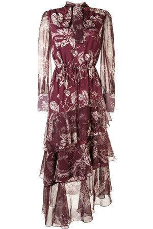 Marchesa Notte Leaf-print asymmetric tiered dress