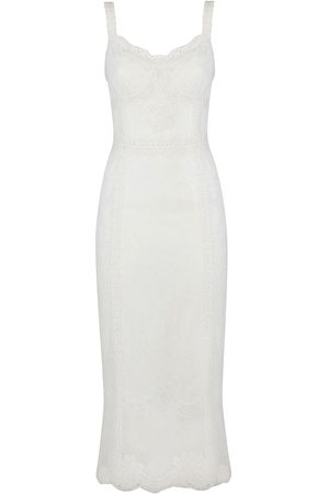Dolce & Gabbana Floral-lace fitted midi-dress