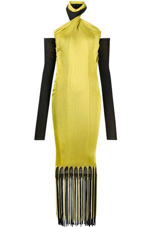 Bottega Veneta Halterneck ribbed fringed dress
