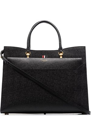 Thom Browne Large pebbled Duet tote