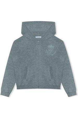 Dolce & Gabbana Kids Logo-embroidered zip-front hoodie