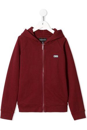 Emporio Armani Kids Logo-patch zipped hoodie
