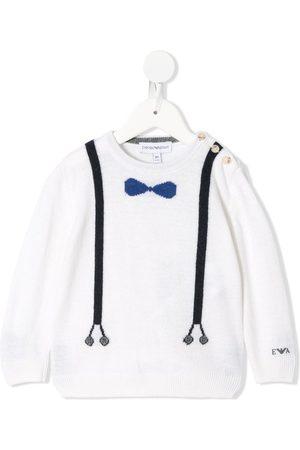 Emporio Armani Intarsia-knit crew-neck jumper