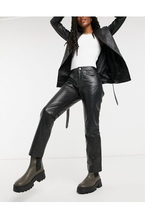 Muubaa Cropped straight leg leather trousers in black
