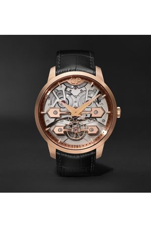 Girard Perregaux Classic Bridges Automatic Skeleton 45mm Rose Gold and Alligator Watch, Ref. No. 86000-52-001-BB6A