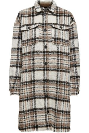 Only Long Check Jacket Dames Bruin