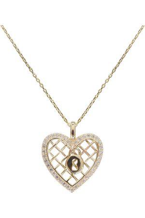 Christian Dames Kettingen met hanger - Gouden zirkonia harten slot hanger