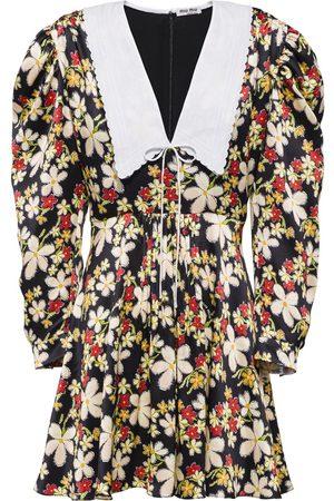 Miu Miu Printed satin sablé dress