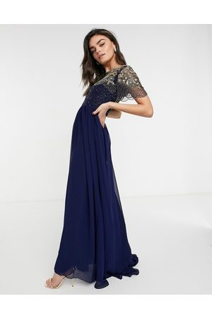 Virgos Vigos Lounge Raina embellished maxi dress in navy