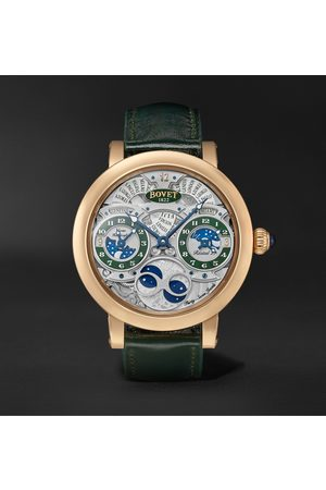 Bovet Récital 27 Limited Edition Hand-Wound 46mm 18-Karat Red Gold and Leather Watch, Ref. No. R270007